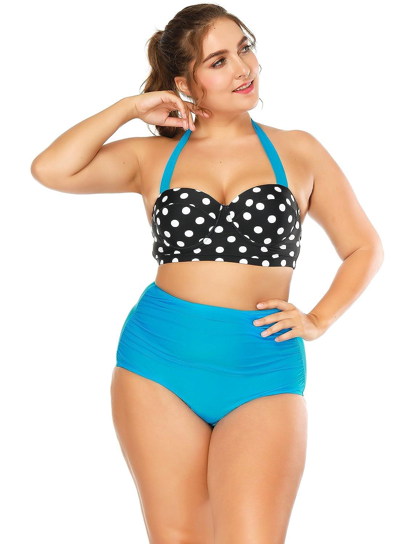 134a2d7e7330c Amazon.com  BaronHong Sexy Halter Dot Printed Tankini Swimsuit Bikini Women  Bathing Suit  Clothing