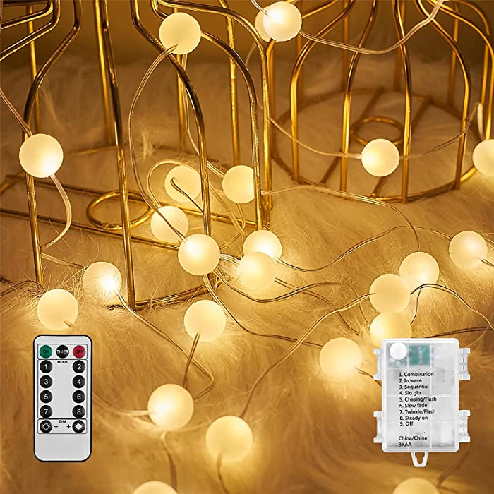 Globe String Lights 10 Ft 30 LED Waterproof Ball Fairy String Lights with 8 Mode Battery Operated,Decor for Bedroom Indoor Outdoor Party Wedding Christmas Garden,Warm White