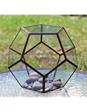 Balón Base Decorativa Terrario Geométrico Vidrio Pentágono Dodecaedro Terrarium Maceta Adorno Centro de Mesa Bronce con Tapa