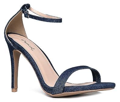 6efb2827b60 Image Unavailable. Image not available for. Color  ZooShoo Adjustable Ankle  Strap-Stiletto High Heel Open Toe-Dress Sandal 9 Blue Denim