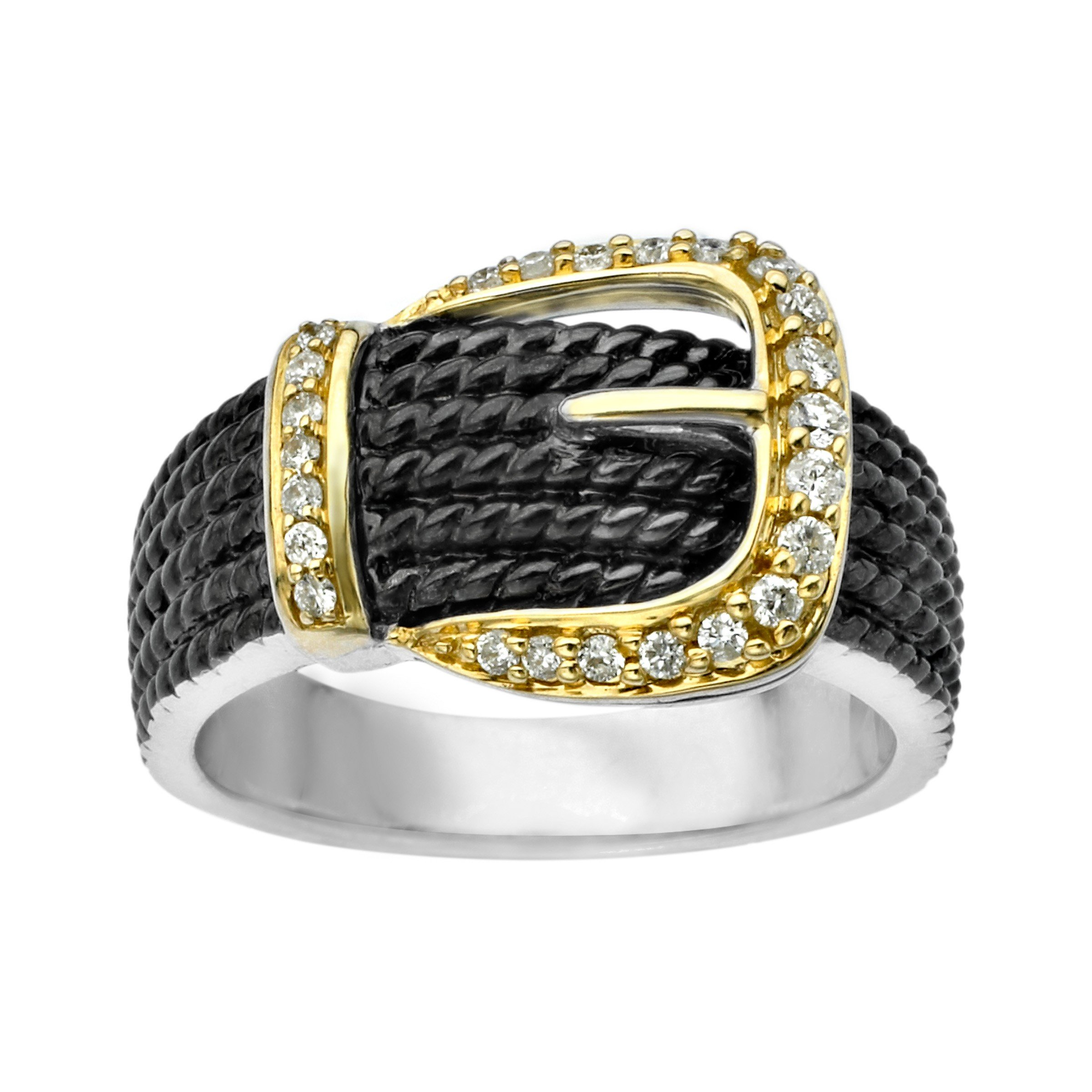 1/5 ct Diamond Buckle Ring in Sterling Silver & 14K Gold Size 7