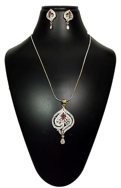 Buy Joovaa American Diamond Bridal Necklace Party Wear Cz Pendant