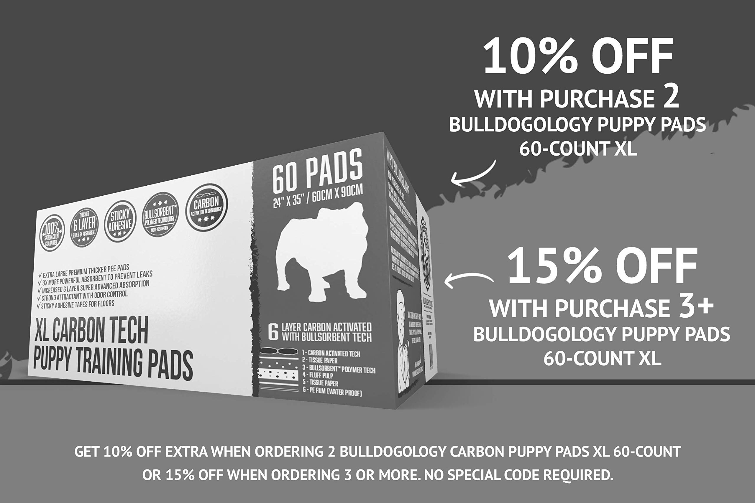 Bulldoglogy Carbon Black Puppy Pee Pads with Adhesive Sticky Tape - Extra Large Housebreaking Dog Training Wee Pads (24x35) 6 Layers with Extra Quick Dry Bullsorbent Polymer (60-Count) by Bulldogology