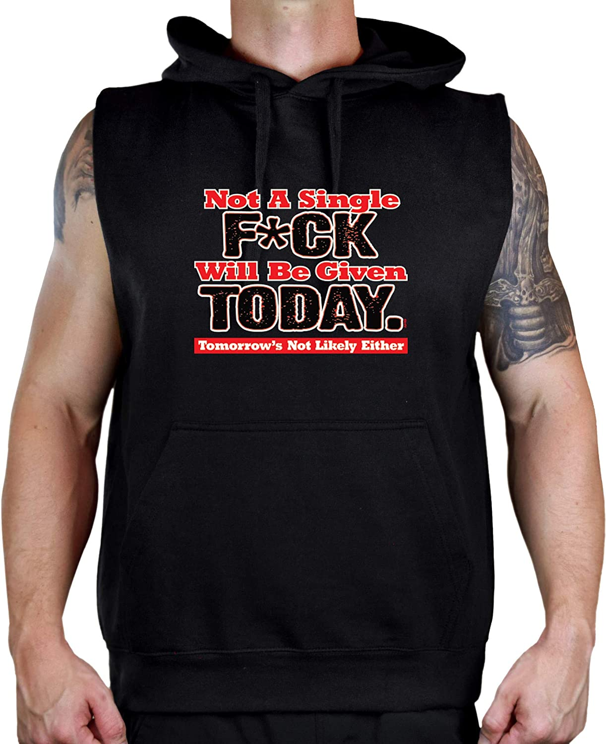 Mens Not A Single FCK Given Today Black Sleeveless Vest Hoodie