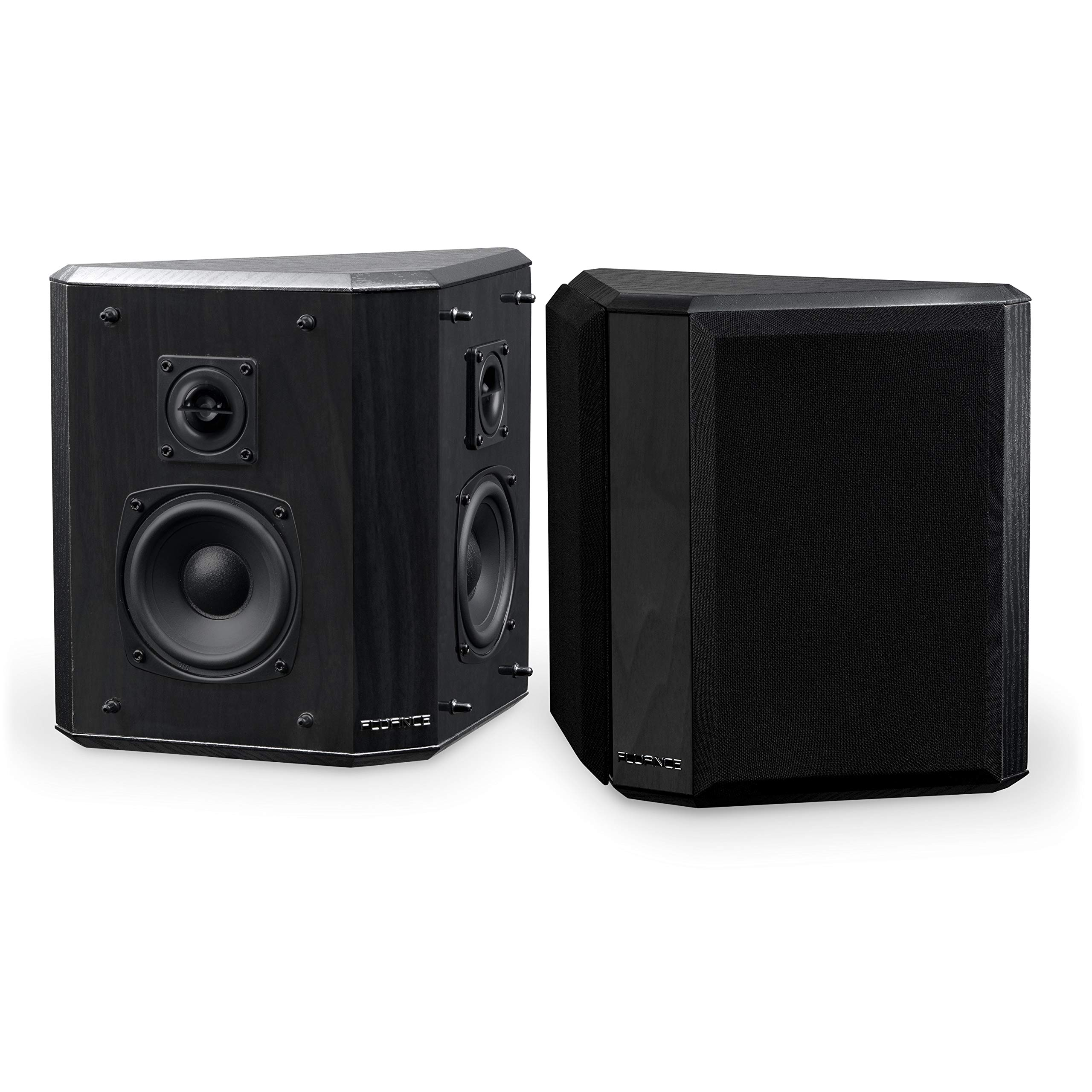 Fluance Elite High Definition 2-Way Bipolar Surround Speakers for Wide Dispersion Surround Sound in Home Theater Systems - Black Ash/Pair (SXBP2)