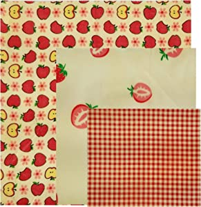 Beeswax Food Wrap - Organic Beeswax and GOTS Cotton - Reusable Food Storage - Eco Sustainable Replacement for Single Use Plastic (pink/red, 3)