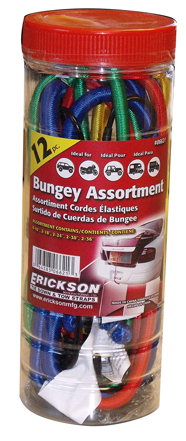 Pack of 12 Erickson 06621 Multiple Length Bungey Cord Assortment Jar, EK6621