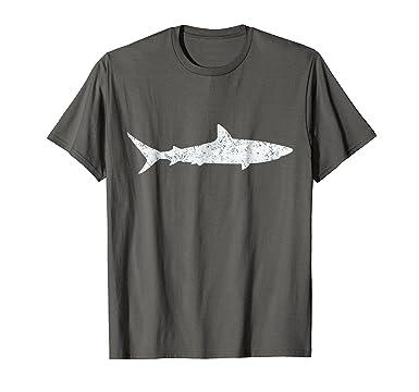 Mens Shark Retro Vintage T-Shirt 70s Distressed Throwback Tee 2XL Asphalt