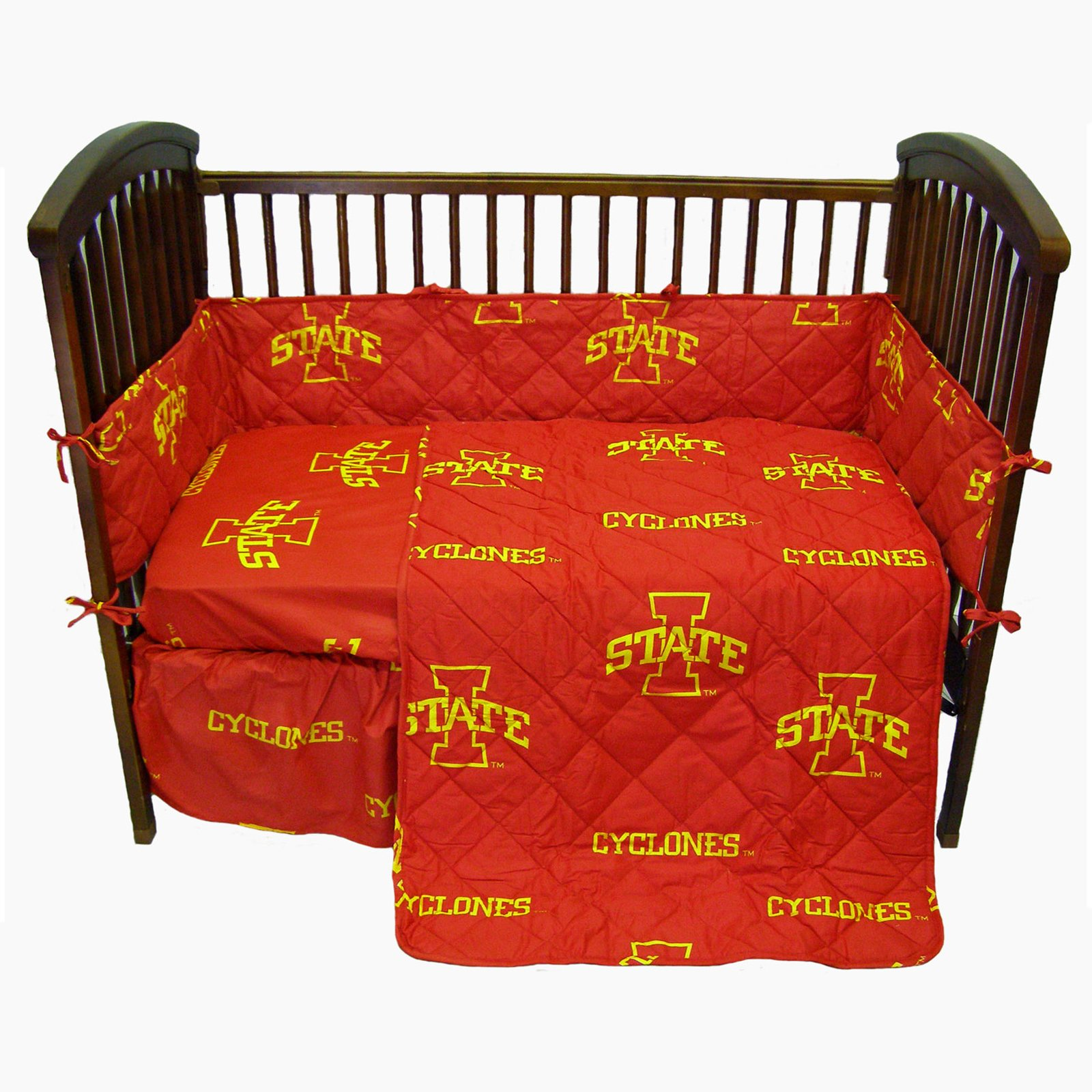 Iowa State Cyclones 5 Piece Crib Set - Entire Set includes: (1) Reversible Comforter, (1) Bed Skirt , (2) Fitted Sheets and (1) Bumper Pad - Decorate Your Nursery and Save Big By Bundling!