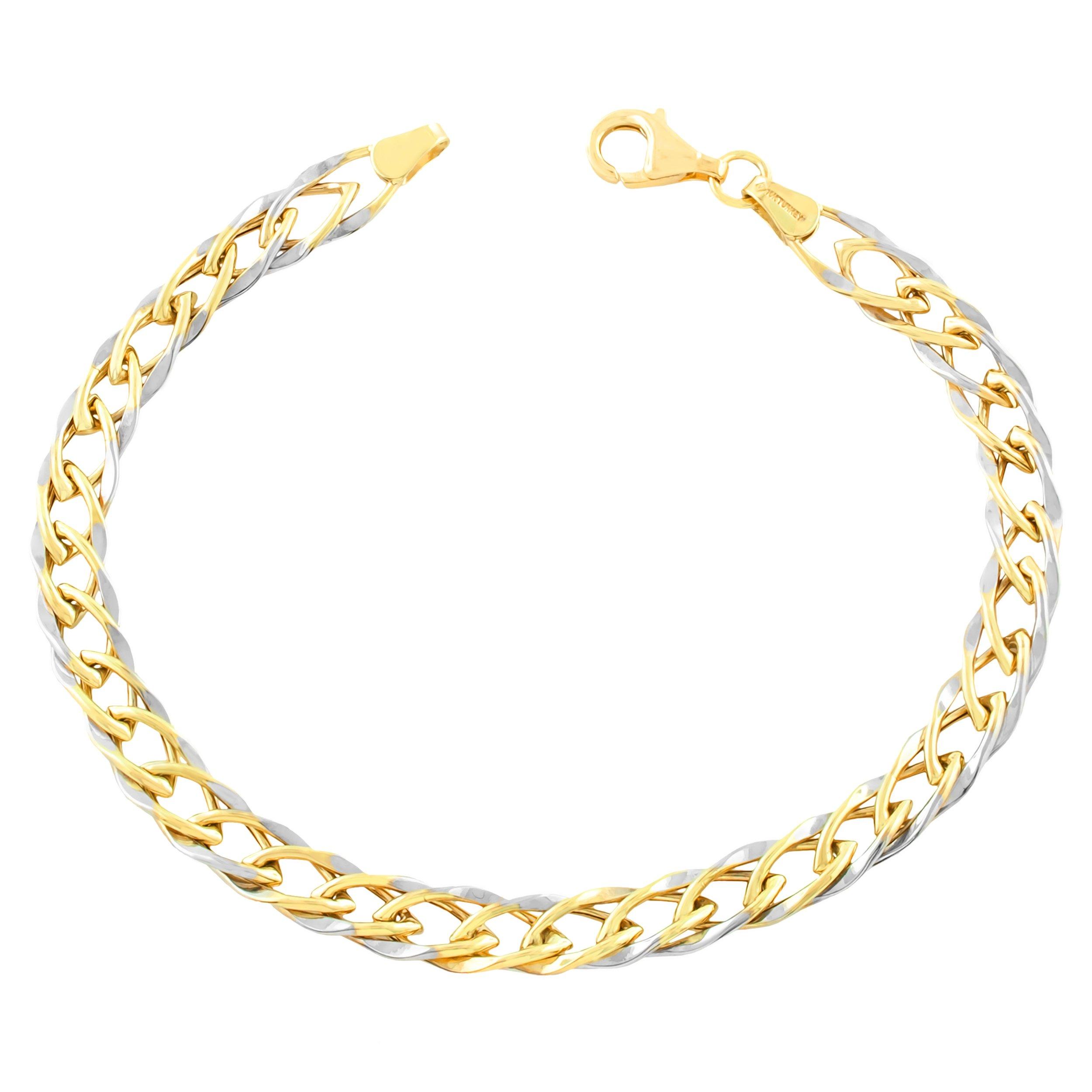 Kooljewelry 10k Two-Tone Gold Link Bracelet (7.5 inch) by Kooljewelry