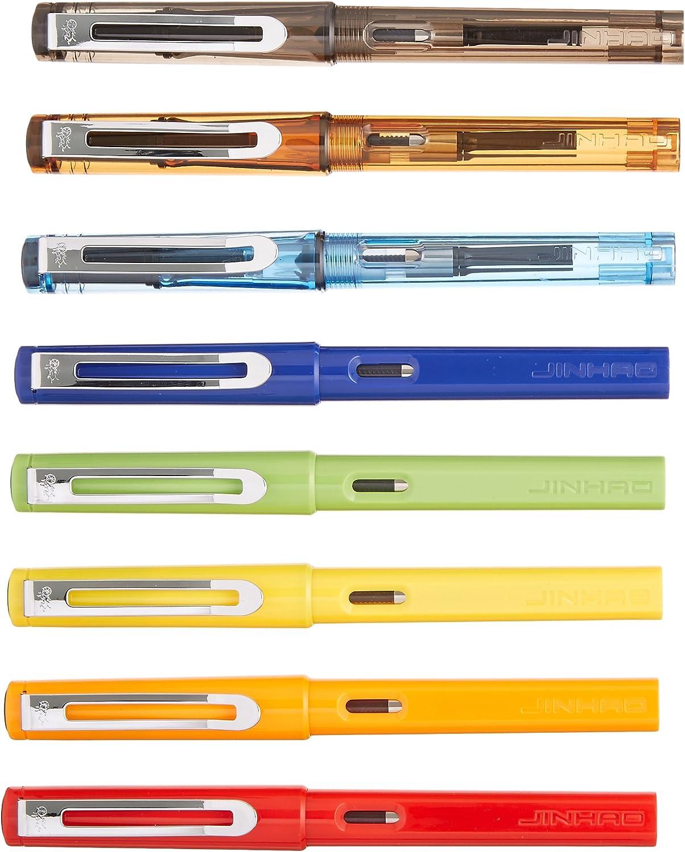 8 PCS Jinhao 599 Fountain Pens Diversity Set Transparent and Unique Style