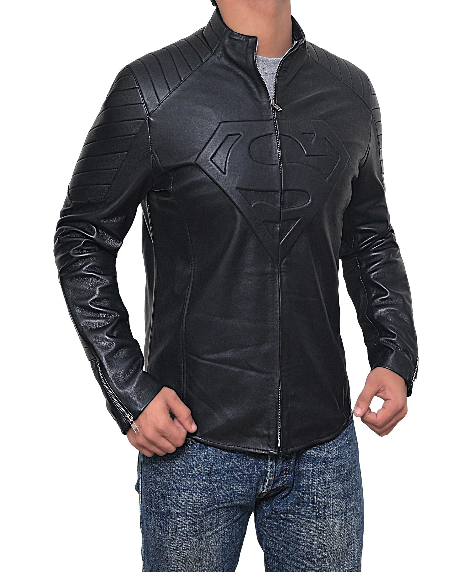 Mens Black Superman Leather Slim Fit Jacket (Superman Jacket, XL) by Decrum (Image #2)