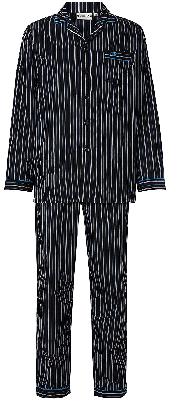 Walker Reid Mens Striped Print 100/% Cotton Long Sleeve Button Up Collared Pyjamas
