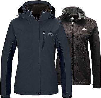 Wantdo Womens Waterproof 3 in 1 Ski Jacket Warm Fleece Interchange Rain Jacket