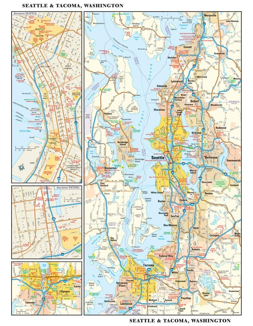 Amazon Com Seattle Washington Wall Map 11 5 X 14 5 Paper