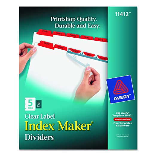 Amazon Index Makerr Print Apply Clear Label Dividers With