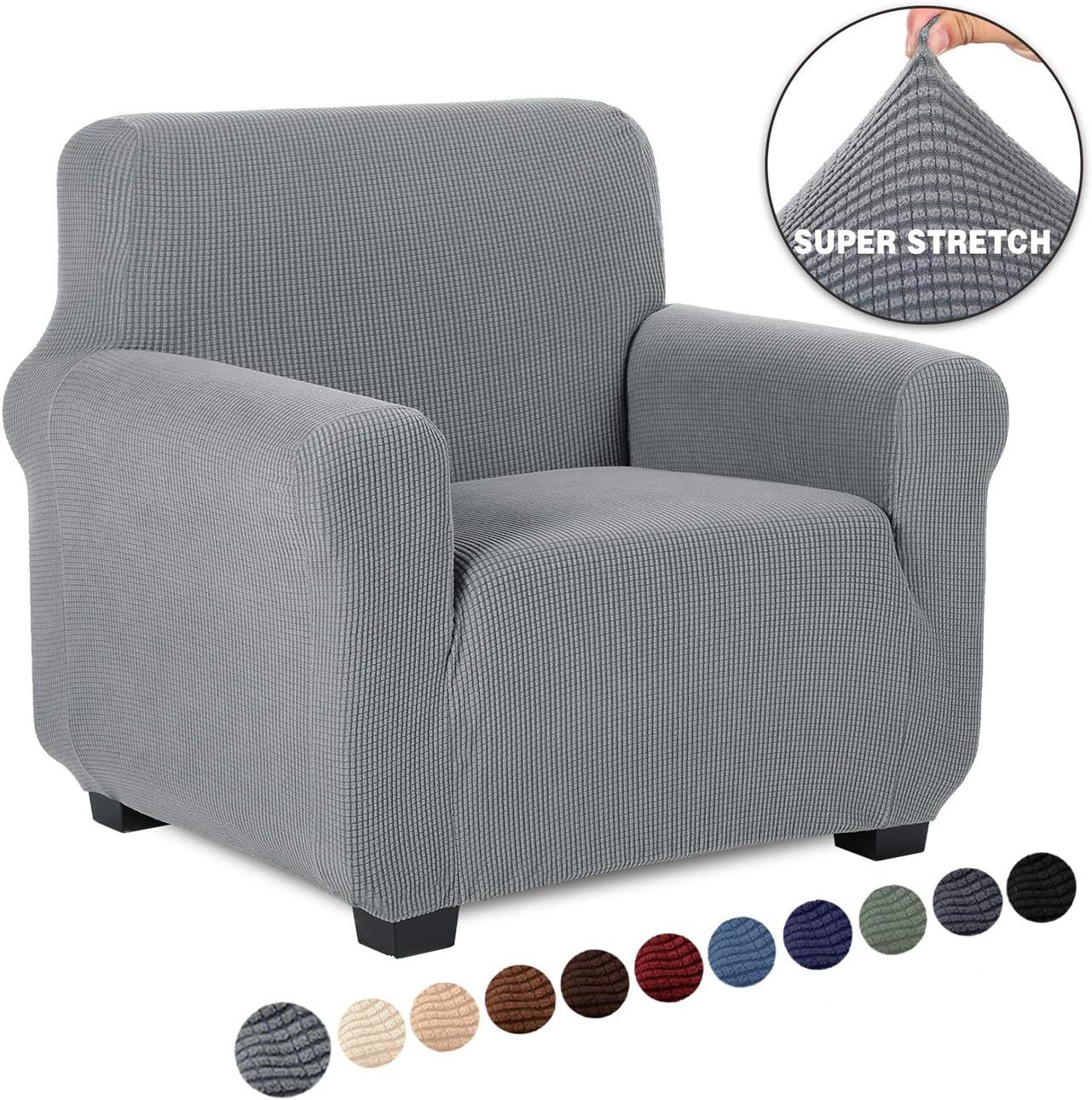 TIANSHU Funda de sillón,Material Jacquard poliéster y Elastano Fundas de sofá Suaves Resistentes?Funda de sillón?Gris Claro?