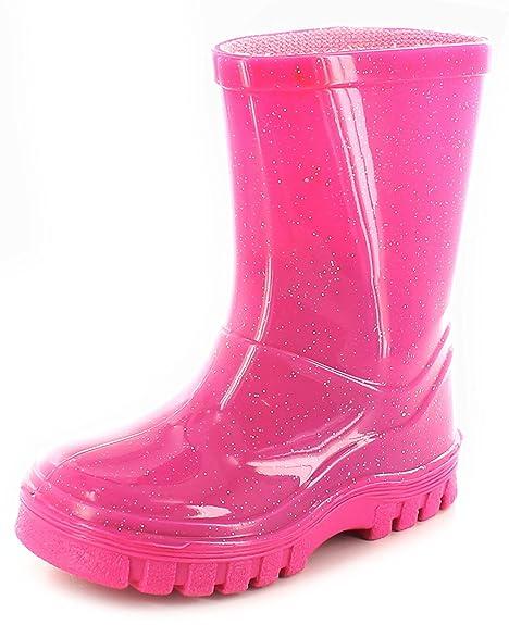 NUEVO niña rosa con Purpurina Botas De Agua Botas agua / Wellys - Rosa Purpurina -