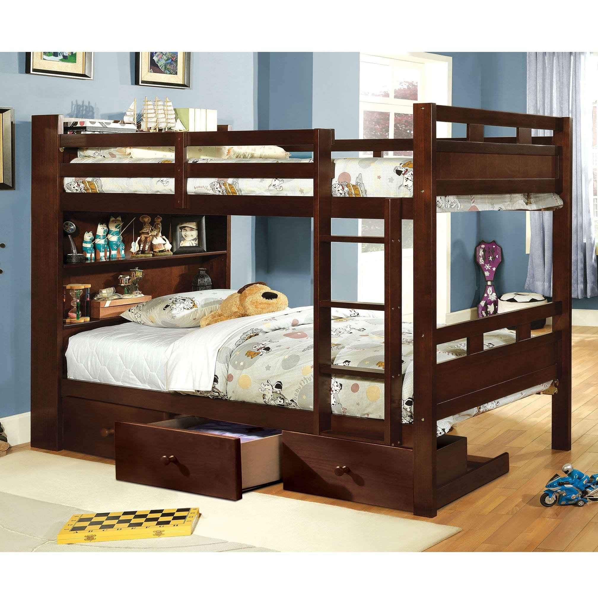 Furniture of America Chessin Dark Walnut Bunk Bed with Built-In Bookcase Headboard Twin