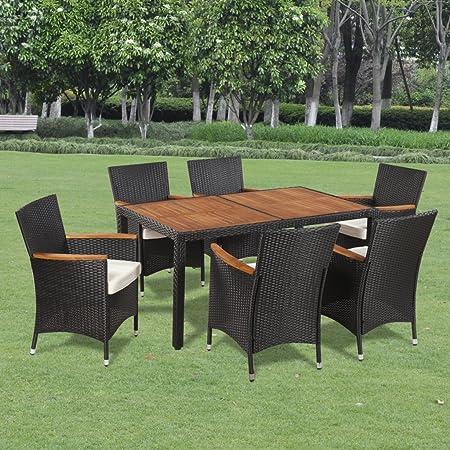 Festnight Salon de Jardin en Résine Tressée 1 Table avec Un Dessus en Bois  d\'acacia, 6 chaises en résine tressée et 6 Coussins de siège Amovibles