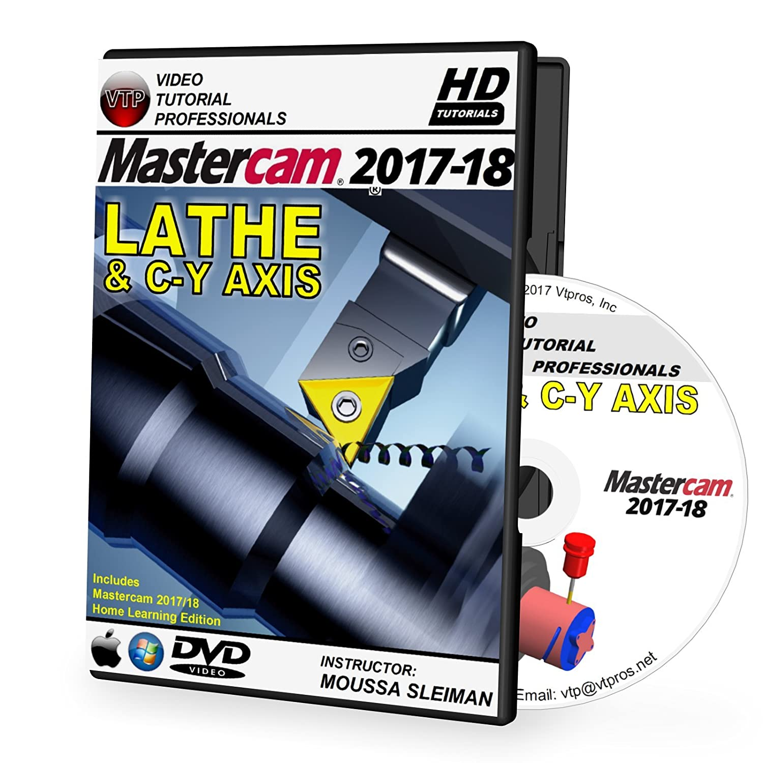 Mastercam 2017-2018 LATHE & C-Y AXIS Video Tutorial HD DVD