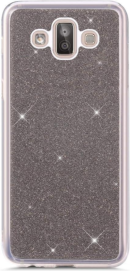 Hpory Etui en Silicone Compatible avec Samsung Galaxy J7 Duo 2018 Silicone Coque Souple Mince Etui Housse de Protection Scrub Brillant Paillette Etui Ultra Fine TPU Silicone Cover,Violet