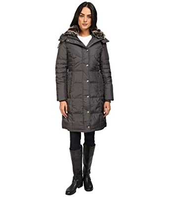 b2d195fcbd6 Amazon.com  London Fog Women s Chevron Coat with Faux-Fur Trim  Clothing