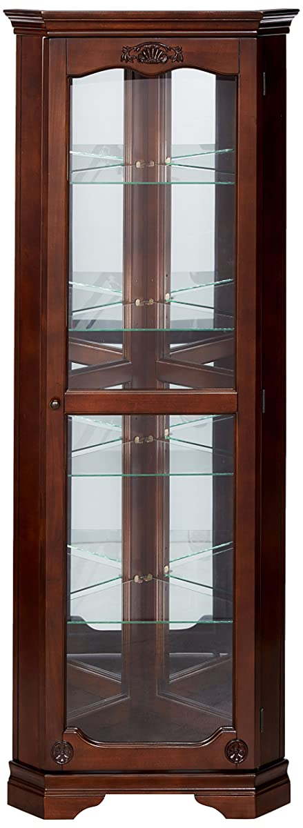 5-shelf Corner Curio Cabinet with Acanthus Leaf Top Golden Brown and Clear