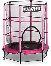 Klarfit Rocketkid 3 Cama elástica infantil 140 cm (Red de seguridad, apto exterior o interior, peso máximo 50kg, cuerdas elásticas ocultas, varillas acolchadas, gran estabilidad, diseño amarillo)