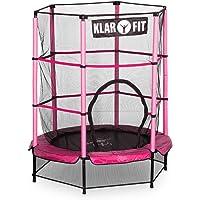 Klarfit Rocketkid • Trampoline • adapté au jardin • pour les enfants de plus de 3 ans • fleuri • surface de saut de 140 cm • filet de sécurité • cordes • charge maximale 50 kg • différentes couleurs