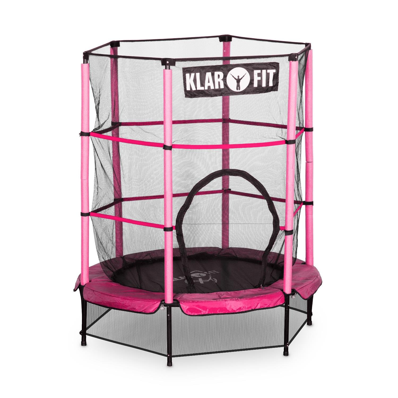 Klarfit Rocketkid Trampolin Minitrampolin Gartentrampolin (für Kinder ab 3 Jahre, 140 cm Durchmesser, bis max. 50 kg belastbar, komplett verschließbares Sicherheitsnetz) verschiedene Farben