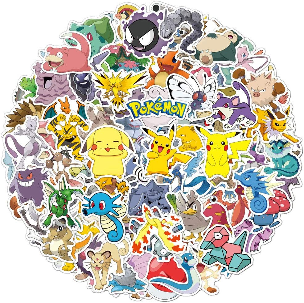 100 Pcs Anime Stickers for Pokemon,Cute Cartoon Waterproof Decals Stickers Pack for Water Bottle Flasks MacBook Laptop Computer Skateboard Guitar Car,Aethetic Stickers for Kids Teens Boys Girls.