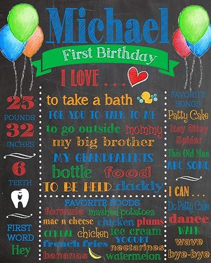 photograph relating to First Birthday Chalkboard Printable identify : Dozili Tailored Initial Birthday Chalkboard