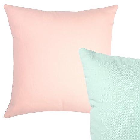 Cushoo Cojín 100% algodón, diseño reversible, color rosa y ...