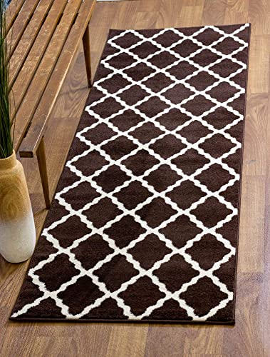 Super Area Rugs Country Classic Trellis Area Rug, Brown, 2 7 x 7 10 Runner