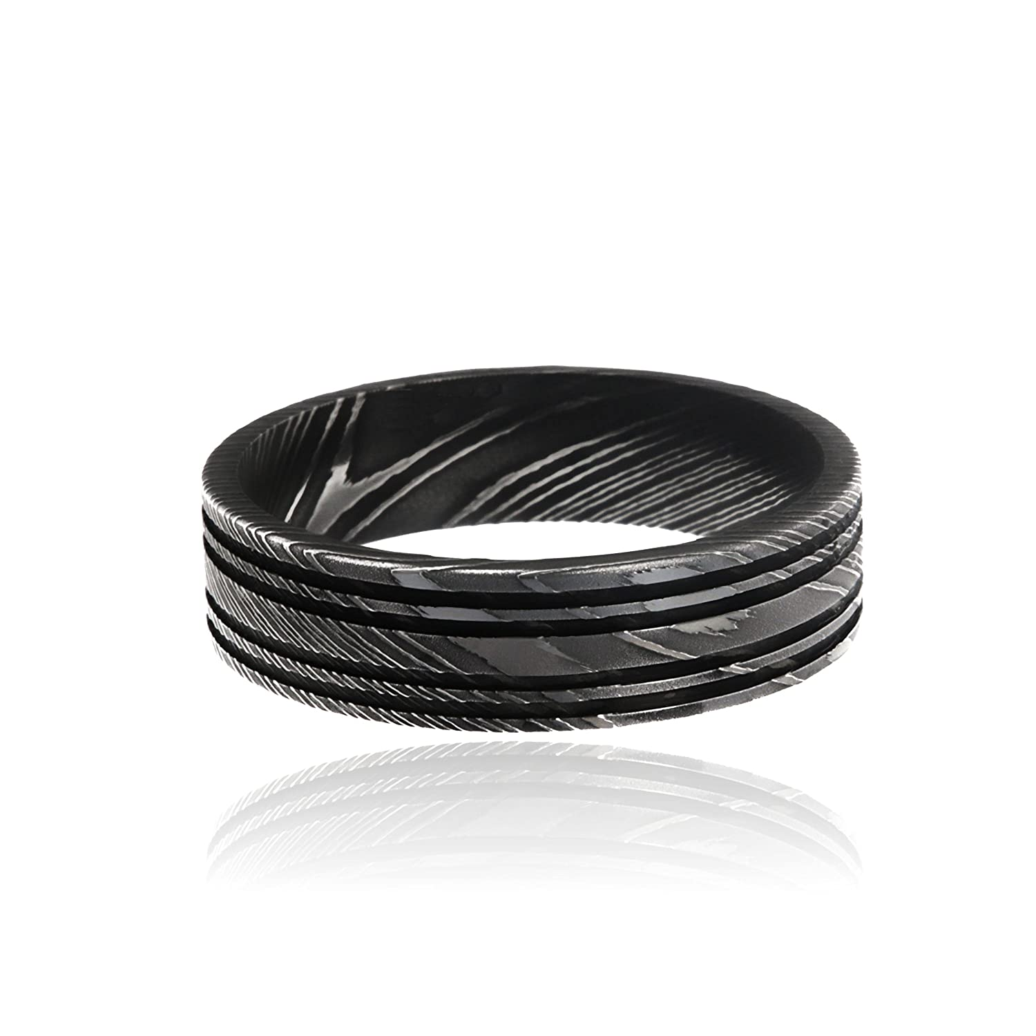 Damascus Rings For Men Wide 6mm Premium Damascus Band Damascus Steel Ring