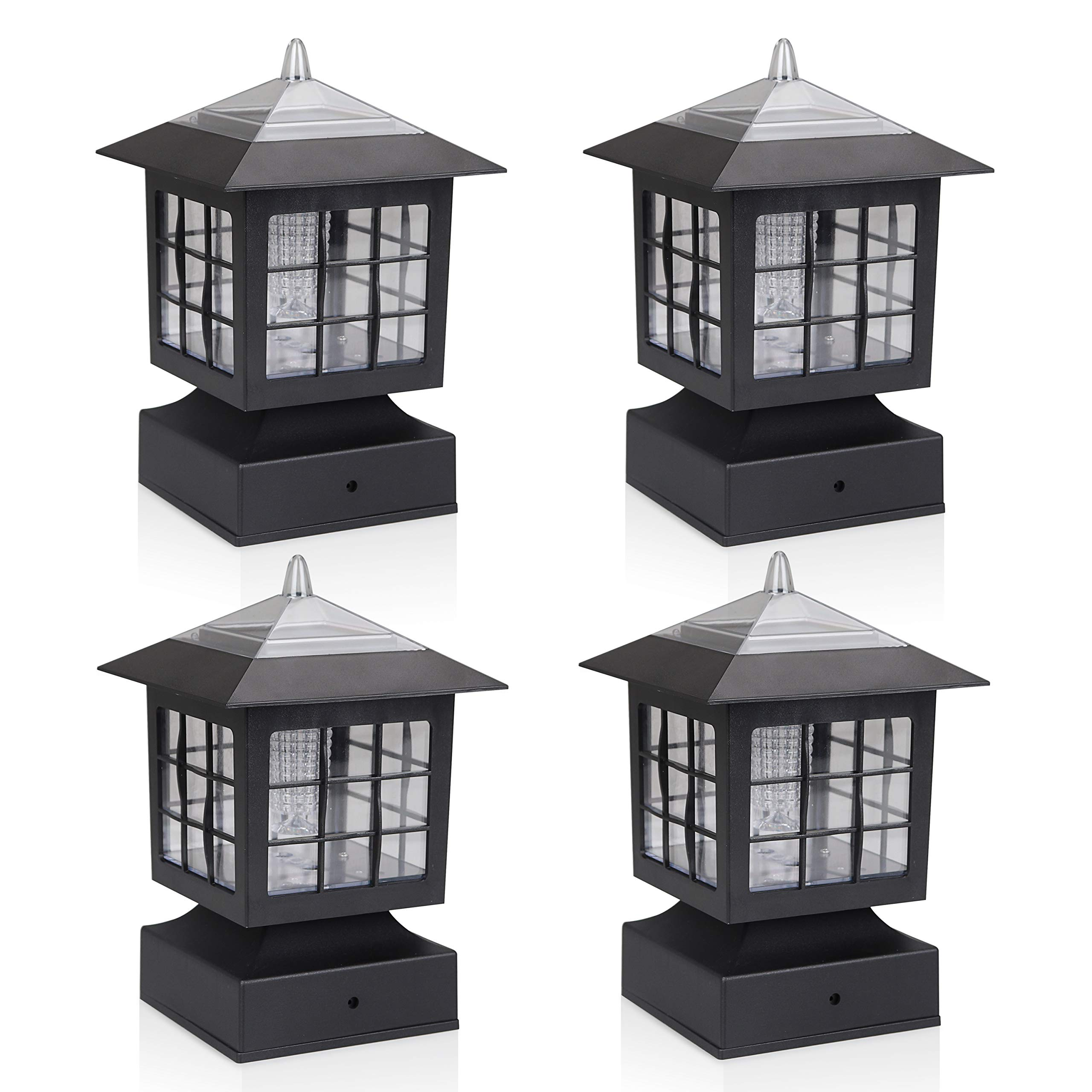 KMC LIGHTING KS101X4 Outdoor Solar Post Fence Paveway Pathway Square Lights 4 Pack with 4-Inch Fitter Base Outdoor Garden Post Pole Mount 4.88X4.88X7.48''