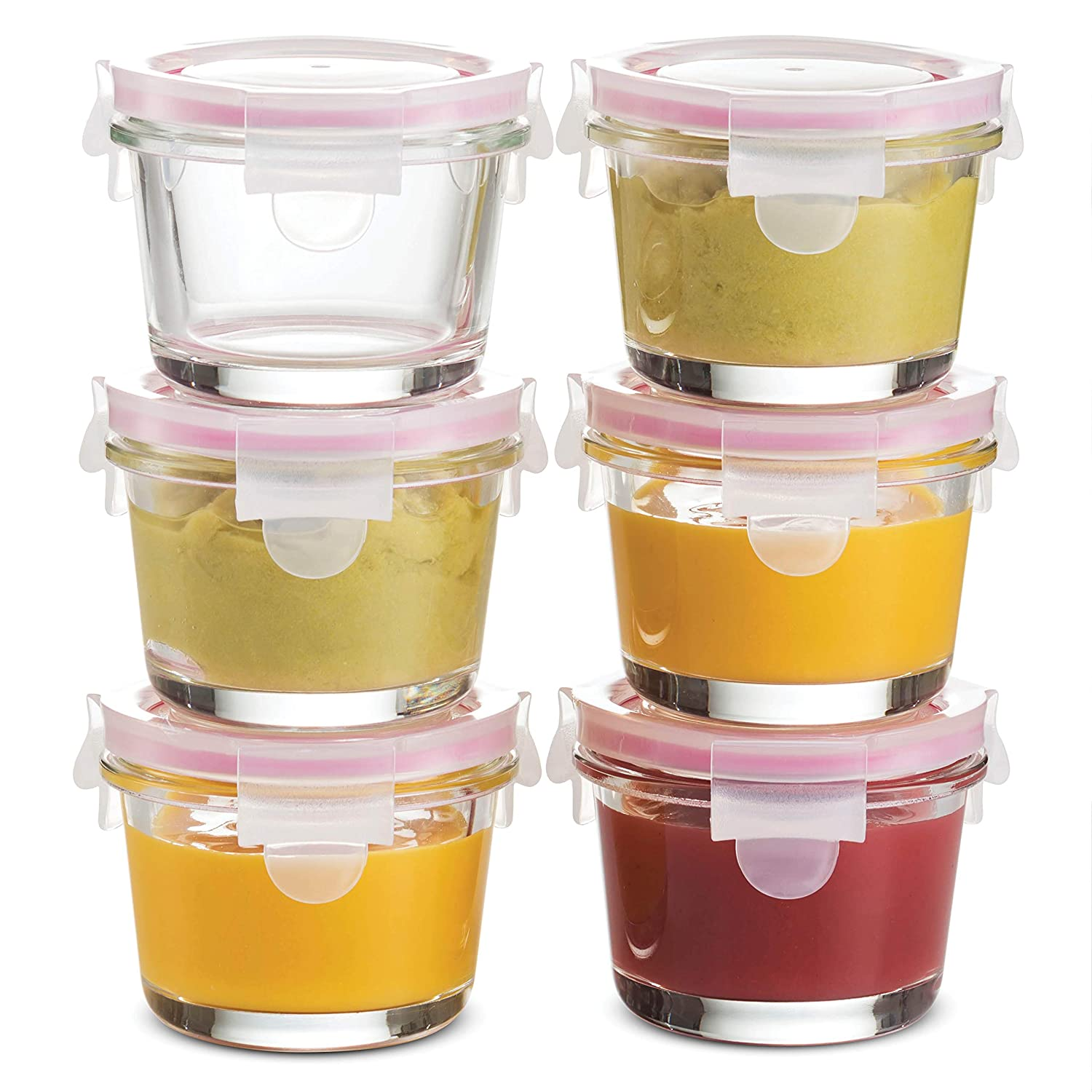 Superior Glass Baby Food Storage Containers - set of 6 - 4 Oz Containers with Airtight BPA-Free Locking Lids - Baby Food containers - Microwave & Dishwasher Safe - Small Containers for Snacks Dips etc