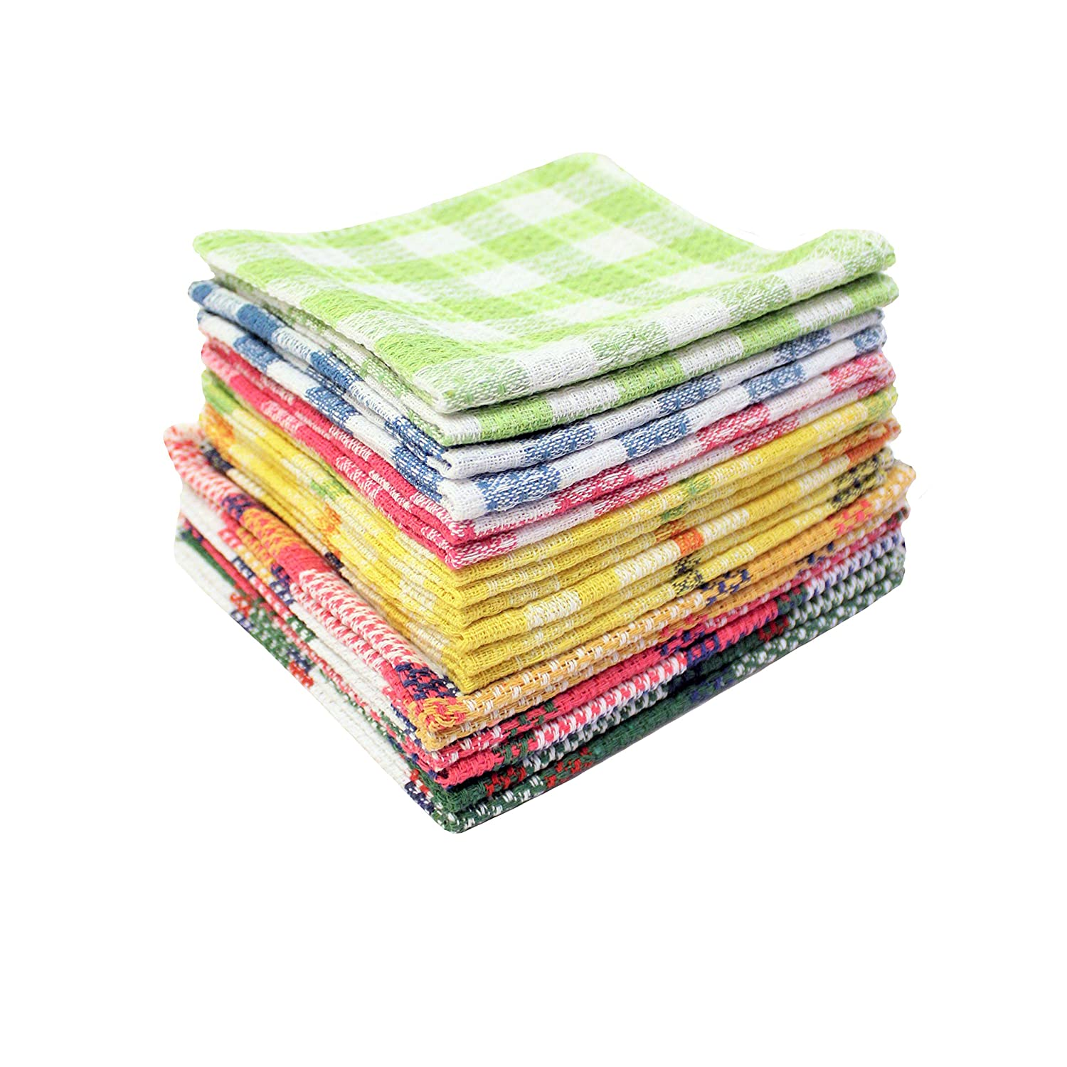 "AHOLTA DESIGN Dish Towels Poly-Cotton Tea Hand Towels - Multi-Purpose Set of 18 Kitchen Cloths Absorbent - Great for Kitchen Cooking and Household Cleaning(Multi, Dish Towels 12""x12"" (18 PCs))"