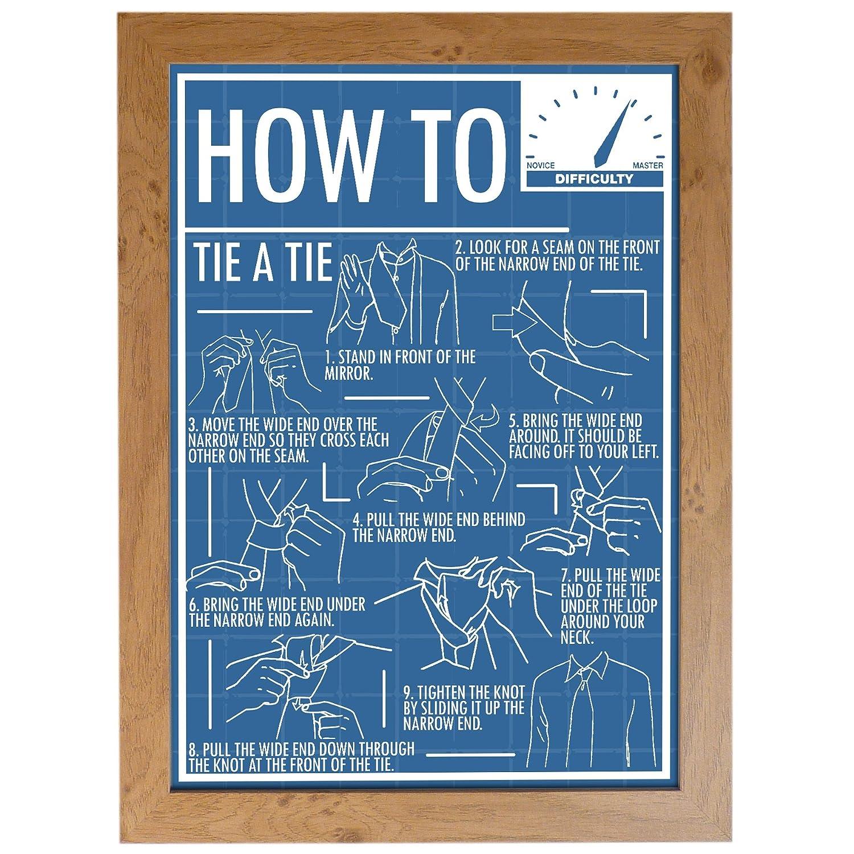 Cómo atar una corbata Póster (A3 enmarcado): Amazon.es: Hogar