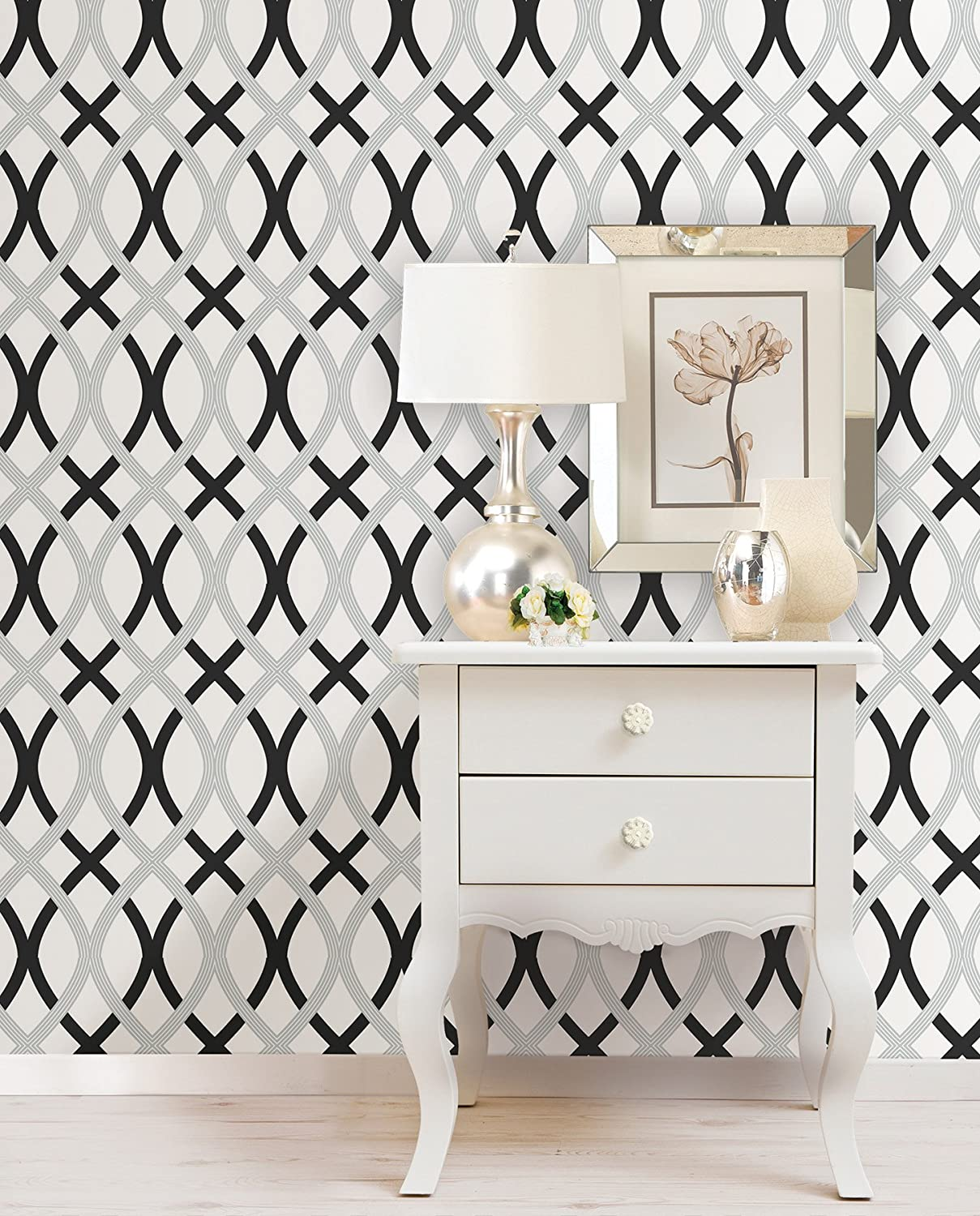 Wall Pops NU1658 Lattice Peel And Stick Wallpaper, Black/Silver      Amazon.com