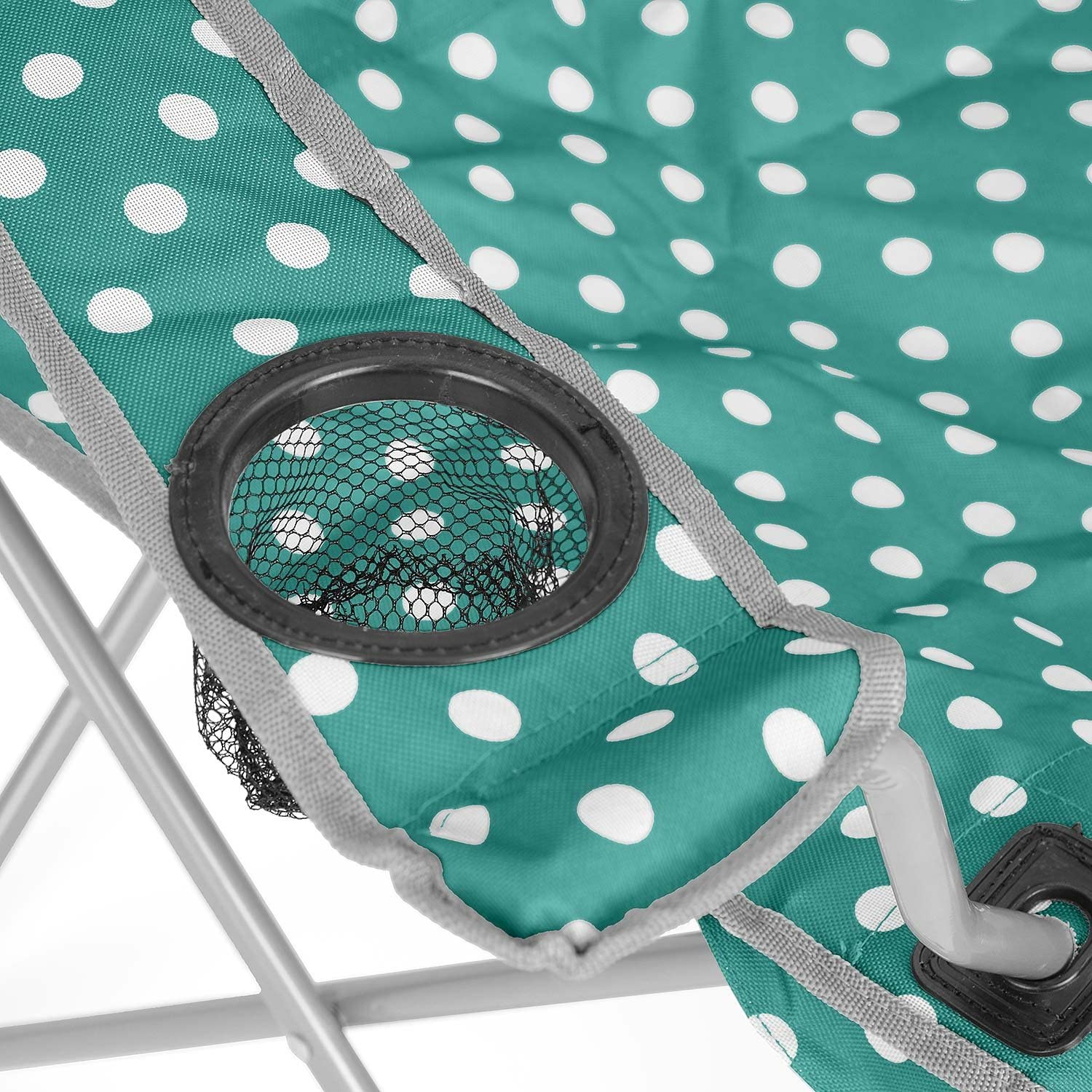 Polka Dot Pattern Festival Beach Heavy Duty Frame Shoulder Travel Bag Cup Holder Trail Compact Folding Camping Chair Outdoor