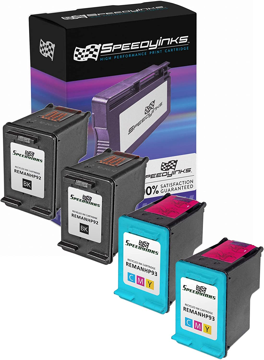 Speedy Inks Remanufactured Ink Cartridge Replacement for HP 92 and HP 93 (2 Black, 2 Color, 4-Pack)