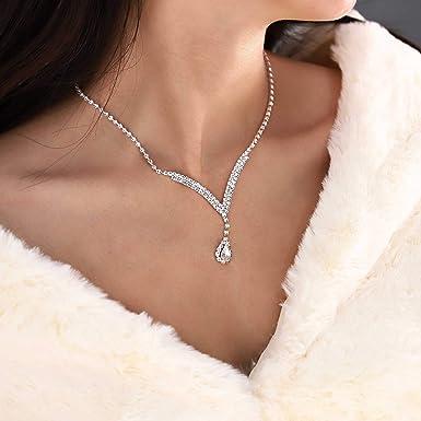 3 Pcs Jewelry Set l Bride l Bridesmaids gift l Rhinestone Earrings l Rhinestone Necklace l Crystal l Bridal Jewelry Set l Chandelier Dangle