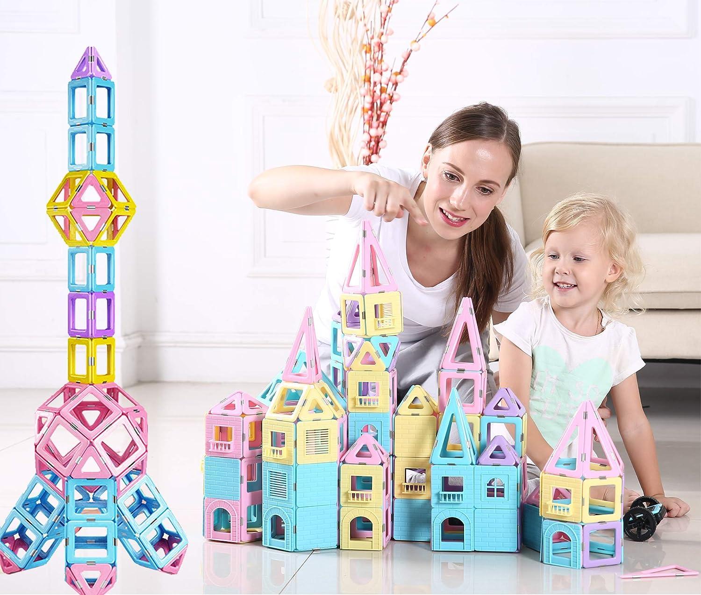 dreambuilderToy 108 Piece Magnetic Tiles,Magnet Stacking Blocks,STEM Building Blocks Preschool Educational Construction Kit,3D Magnetic Toys (108 Pieces): Toys & Games