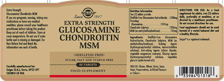 Extra Strength Glucosamine Chondroitin MSM - 60 Tabs: Amazon.es: Salud y cuidado personal