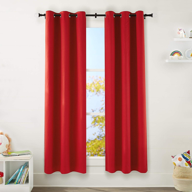 "AmazonBasics Kids Room Darkening Blackout Window Curtain Set with Grommets - 42"" x 84"", True Red"