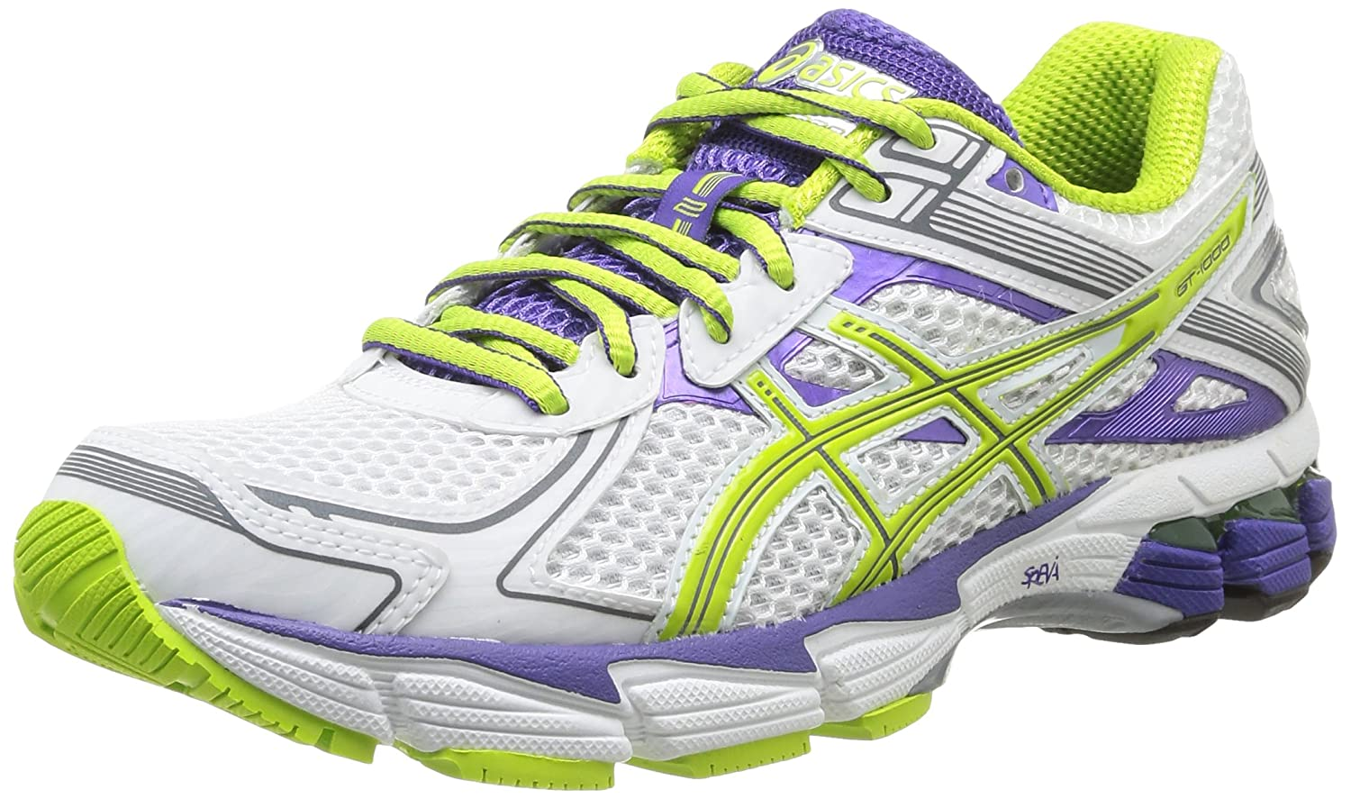 Asics Gt-1000 2 - Zapatillas de running para mujer, color blanco (white/lime/purple), talla 36: Amazon.es: Zapatos y complementos