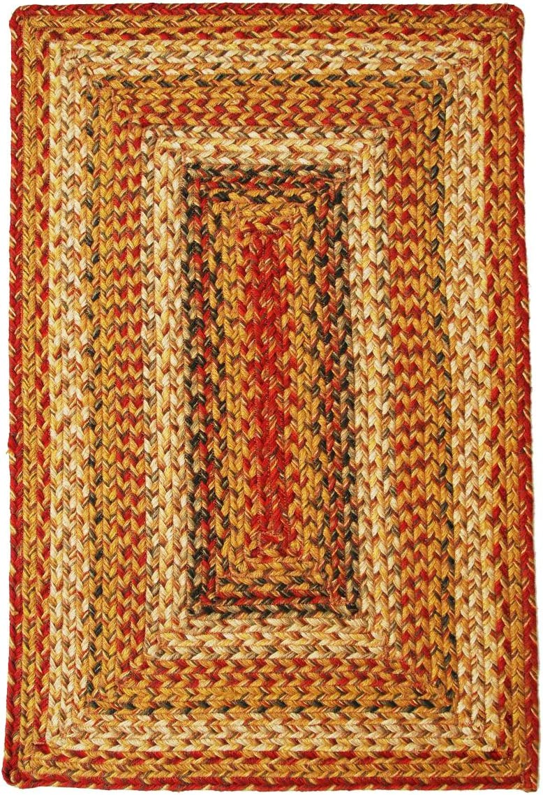 Homespice Rectangular Jute Braided Rugs, 5-Feet by 8-Feet, Mustard Seed