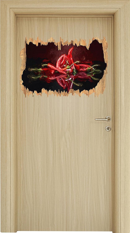 Fiery peperoncino rosso Choten spazzola di arte effetto legno svolta nel look 3D, parete o formato adesivo porta: 62x42cm, autoadesivi della parete, autoadesivo della parete, decorazione della parete Stil.Zeit